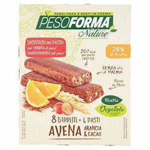 NUTRITION & SANTE' ITALIA SpA PESOFORMA NATURE BARRETTA ALL'AVENA ARANCIA E CACAO 8 PEZZI DA 31 G - Publicité