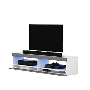 Selsey Meuble TV, Blanc Mat/Gris Brillant, 100 x 40 x 40 - Publicité