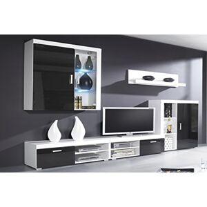 Comfort Home Innovation Ensemble de Meubles Salon, unité Murale, Salle  Manger, Ensemble de séjour Contemporain avec ilumination LED, Noir Laqué et Blanc Mate. Dimensions : 290x200x45cm. Publicité