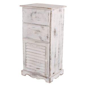 Mendler Commode/Armoire, 2 tiroirs, 1 Porte, 40x32x80cm, Shabby, Vintage, Blanc - Publicité