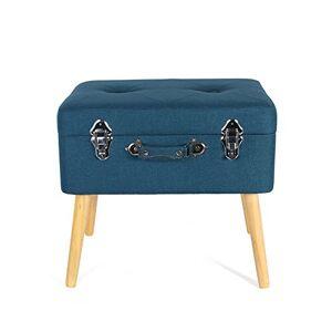 THE HOME DECO FACTORY HD3701 Coffre de Rangement Valise Bois/Polyester Bleu 50,50 x 36 x 45 cm - Publicité