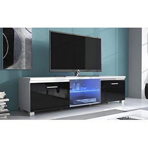 Comfort Home Innovation  Meuble Bas TV LED, Salon-Séjour, Blanc Mate et Noir Laqué, Dimensions: 150 x 40 x 42 cm de Profondeur. Publicité