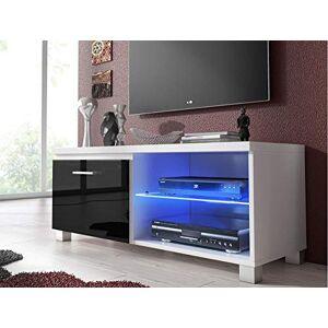 Comfort Home Innovation  Meuble Bas TV LED, Salon-Séjour, Blanc et Noir Laqué, Dimensions: 100 x 40 x 42 cm de Profondeur. Publicité