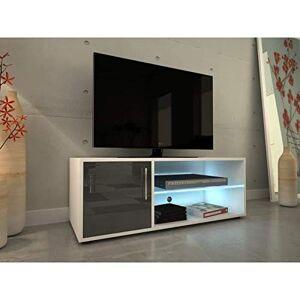KORA Meuble TV 100 cm avec éclairage LED Laqué gris - Publicité