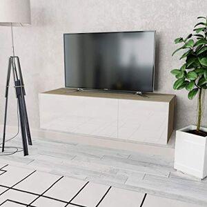 vidaXL Meuble TV Armoire Basse Centre de Divertissement Multimédia Salon Salle de Séjour Intérieur Aggloméré 120x40x34 cm Chne et Blanc Brillant - Publicité