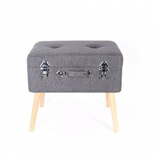 THE HOME DECO FACTORY HD3700 Coffre de Rangement Valise Bois/Polyester Gris Foncé 50,50 x 36 x 45 cm - Publicité