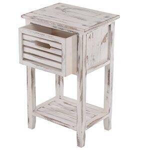 Mendler Table d'appoint/Chevet, 1 tiroir, 35x27x57cm, Shabby, Vintage, Blanc - Publicité