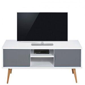 ACTUAL DIFFUSION Meuble TV Blanc Gris 2 Portes 4 Pieds Chne Vintage, 40x120x50 cm - Publicité