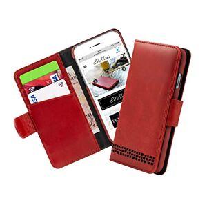 Ed Hicks tui Portefeuille en Cuir véritable pour iPhone Se 2020, iPhone Se 2nd génération, iPhone 7 et iPhone 8. Rouge Vintage avec Noir - Publicité
