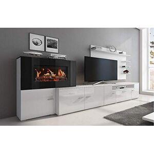 Comfort Home Innovation- Meuble de Salon avec cheminée électrique  5 Niveaux de Flamme, Finition Blanc Mat et laqué Blanc Brillant, mesures : 290x170x45cm de Profondeur. Publicité
