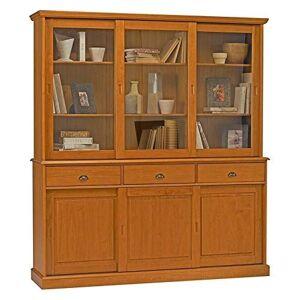 ACTUAL DIFFUSION Windsor Buffet-Vaisselier Bibliothque Pin Miel 6 Portes Coulissantes, 42x178x199 cm - Publicité
