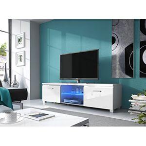 Comfort Home Innovation Meuble Bas TV LED, Salon-Séjour, Blanc Mate et Blanc Laqué, Dimensions: 150 x 40 x 42 cm de Profondeur. Publicité