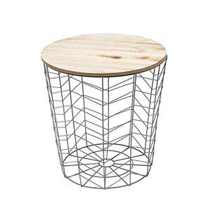 THE HOME DECO FACTORY Table Filaire Chevron, MDF + Metal, 38,5 x 38,5 x 40 cm - Publicité