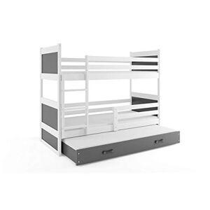 Interbeds Lit superposé Rico 3 Places 200x90 avec sommiers, tiroir-lit et Matelas, Blanc + la 2eme Couleur choisie (Blanc+Gris) - Publicité