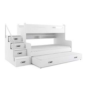 Interbeds Lit 4 Places Max 3 200x80 et 200x120 avec Matelas sommiers tiroir-lit 190x80 et escalier (Blanc+Blanc) - Publicité