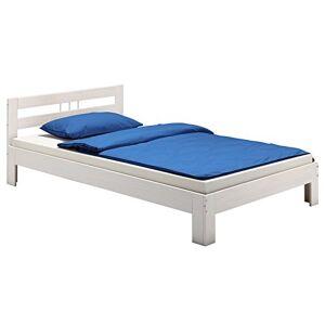 IDIMEX Lit Simple Theo 120 x 200 cm lit pour Enfant et Adulte en pin Massif lasuré Blanc, avec tte de lit - Publicité