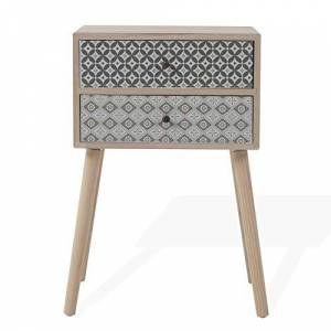 Rebecca Mobili Table de Nuit scandinave 2 Tiroirs, Marron Clair Gris, Bois, pour Chamre Salon Dimensions: 71 x 45 x 30 (HxLxL) Art. RE6118 - Publicité