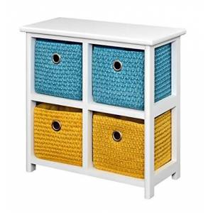 ts-ideen Commode Armoire Table de chevet 44 cm tagre Blanc 4 paniers en bleu et jaune - Publicité