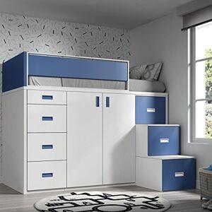 Meubles ROS Lit Mezzanine avec Armoire et tiroirs -165x204x165 cm (Blanc/Bleu, chelle  la Droite) - Publicité