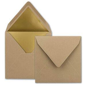 FarbenFroh by GUSTAV NEUSER Lot de 1000 enveloppes carrées 15,5 x 15,5 cm, cappuccino (marron)  Doublure en papier doré  Collage humide - Publicité