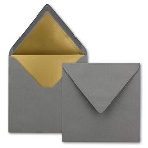 FarbenFroh by GUSTAV NEUSER Lot de 1000 enveloppes carrées 15,5 x 15,5 cm, anthracite (gris)  Doublure en papier doré  Collage humide - Publicité