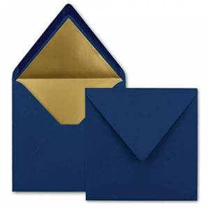 FarbenFroh by GUSTAV NEUSER Lot de 1000 enveloppes carrées 15,5 x 15,5 cm, bleu foncé (bleu)  Doublure en papier doré  Collage humide - Publicité