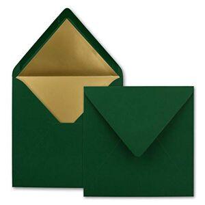 FarbenFroh by GUSTAV NEUSER Lot de 1000 enveloppes carrées 15,5 x 15,5 cm, vert foncé (vert)  Doublure en papier doré  Collage humide - Publicité