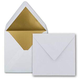 FarbenFroh by GUSTAV NEUSER Lot de 1000 enveloppes carrées 15,5 x 15,5 cm, blanc vif (blanc) avec doublure en papier doré  coller humide - Publicité