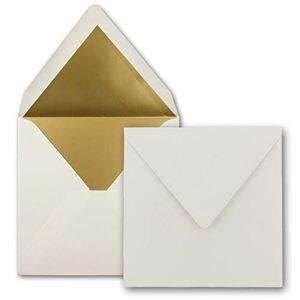 FarbenFroh by GUSTAV NEUSER Lot de 1000 enveloppes carrées 15,5 x 15,5 cm, blanc naturel (blanc)  Doublure en papier doré  Collage humide - Publicité