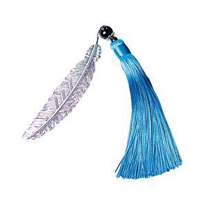 Nowbetter 1 marque-page en métal en forme de plume avec pendentif fait  la main pour enfants, étudiants, lecteurs, cadeau (bleu). Publicité