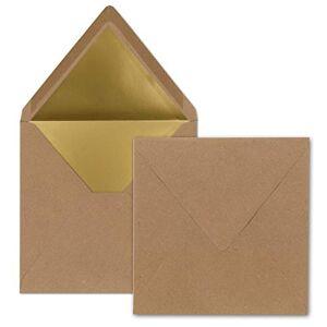 FarbenFroh by GUSTAV NEUSER Lot de 1000 enveloppes carrées 15,5 x 15,5 cm Papier kraft avec fibres naturelles (marron) Doublées de papier doré Collage humide Look vintage - Publicité