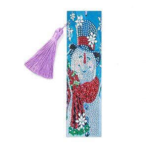 DomybestFR Domybest Marque-page de Peinture au Diamant Bricolage Diamond Painting Marque Page en Cuir Creatif Signet Livre avec Glands Cadeau Nol Anniversaire pour Femmes Hommes Enfants (Bonhomme de neige) - Publicité