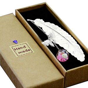 Toirxarn Marque-page plume en métal, avec papillon 3D et perles de verre Pendentif fleur éternelle sche. pour les lecteurs, les femmes et les enfants.(Plume d'Argent Rose Fleur Blanche) - Publicité