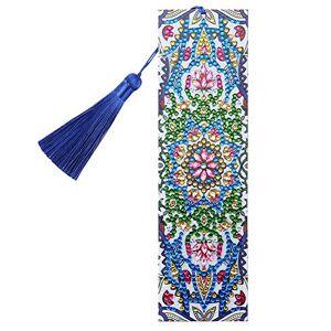 Prosperveil Marque-page en cuir avec pampilles faites  la main Marque-page avec pendentif Pour femme, homme, enfant, fille Cadeau (fleurs roses et vertes) - Publicité