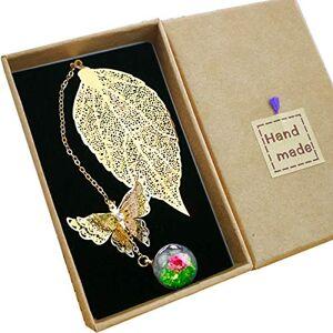Toirxarn Marque-page de feuille de métal exquis, avec papillon 3D et perles de verre Pendentif fleur sche éternelle. Cadeau pour les lecteurs, les femmes et les enfants. Publicité