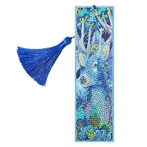 DomybestFR Domybest Marque-page de Peinture au Diamant Bricolage Diamond Painting Marque Page en Cuir Signet Livre avec Glands Cadeau Nol Anniversaire pour Femmes Hommes Enfants (Cerf bleu) - Publicité