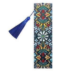 Prosperveil Marque-page en cuir avec pampilles faites  la main Marque-page avec pendentif Pour femme, homme, enfant, fille Cadeau (fleurs jaunes et bleues) - Publicité