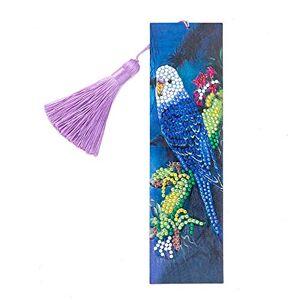 DomybestFR Domybest Marque-page de Peinture au Diamant Bricolage Diamond Painting Marque Page en Cuir Creatif Signet Livre avec Glands Cadeau Nol Anniversaire pour Femmes Hommes Enfants (Perroquet) - Publicité