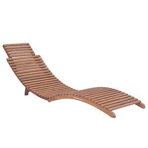 vidaXL Bois de Teck Massif Chaise Longue Pliable Bain de Soleil Transat Jardin - Publicité