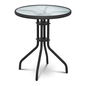 Uniprodo Table De Jardin en Verre Ronde Métal Mobilier Meuble Salon De Jardin UNI_Table_01 (Plateau  60 cm, Hauteur 70 cm, Verre Trempé et Acier Peint par Poudrage) - Publicité