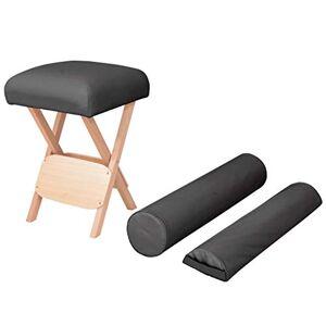 vidaXL Tabouret de Massage Pliant Siège 12 cm d'Epaisseur 2 Traversins Table de Massage Tabouret de Thérapeute Pliable Intérieur Noir - Publicité