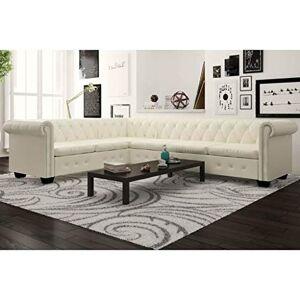 binzhoueushopping Canapé d'angle Chesterfield 6 places en cuir synthétique blanc 260 x 205 x 73 cm, idéal pour la maison ou le bureau - Publicité