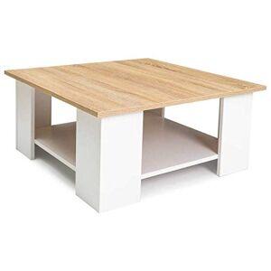IDMarket Table Basse carrée ELI Blanche Plateau faon htre - Publicité