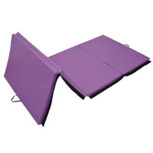 Homcom Tapis de Sol Gymnastique Fitness Pliable Portable Rembourrage Mousse 5 cm Grand Confort Simili Cuir dim. 2,93L m x 1,15l m Violet - Publicité