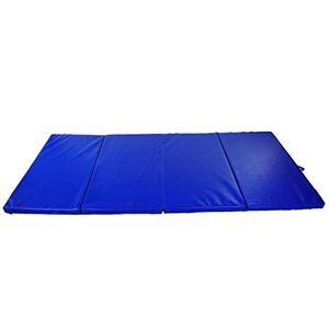 Homcom Tapis de Sol Gymnastique Fitness Pliable Portable Rembourrage Mousse 5 cm Grand Confort Simili Cuir dim. 2,93L m x 1,15l m Bleu - Publicité