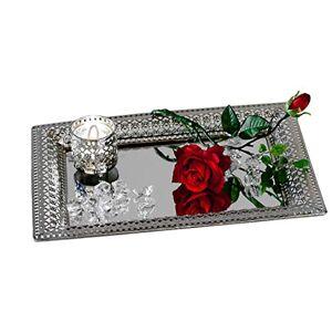 Formano Plateau miroir décoratif Style Romantique Miroir de table en métal et verre Argenté Rectangulaire 22 x 32 cm - Publicité