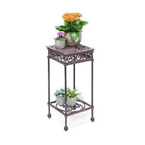 Relaxdays Tabouret plantes fleurs fonte support table appoint carrée table fleurs plantes 50,5 x 24 x 24 cm, bronze - Publicité