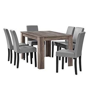 [en.casa] Table  Manger en chne Ancien avec 6 chaises Gris Brilliant Cuir-synthétique rembourré 140x90 - Publicité