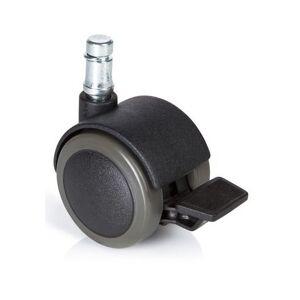 hjh OFFICE 619034 roulettes pour sols durs, roues pour chaise de bureau lot de 5 ROLO STOP 11mm/50mm avec frein de stationnement, appropriées pour parquet, sol stratifié, carrelage ou sol carrelé - Publicité