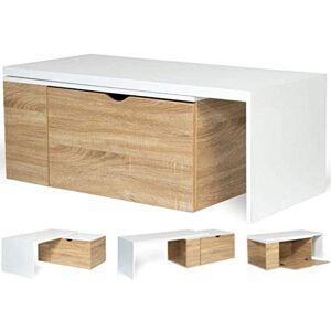 IDMarket Table Basse rotative Bois et Blanc 360° Lizzi Extensible avec Coffre - Publicité